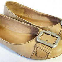 Fossil Womens Leather Maddox Beige Tan Buckle Round Toe Slip on Ballet Flats 9 Photo