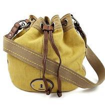 Fossil Womens Maddox Yellow Canvas Leather Drawstring Bucket Bag Shoulder Purse Photo