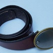 Fossil Womens Mens Brown Belt Bt3890 Belt L Large Oval Buckle 2 Tone Leather Photo