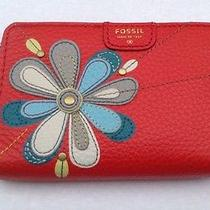 Fossil Womens Mimi Multi Cell Phone Wallet Red Multi Photo