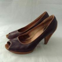Fossil Womens Peep Toe Pump Cone Heels Shoes Brown Slip on 8.5 Photo