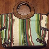 Fossil Womens Purse Wood Handle Leather Canvas  Photo