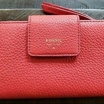 Fossil Womens Red Pebbled Leather Tab Wallet Emma Snap Closure Id Window Photo