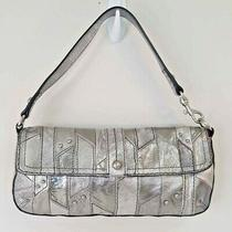 Fossil Womens Shoulder Clutch Bag Metallic Silver Leather Detachable Strap 2245  Photo