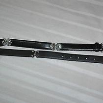 Fossil Womens Silver Hearts Black Leather Belt Size M Photo