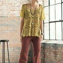 Fossil Womens Size L Mustard Yellow Short Sleeved Sheer Lace Boho Blouse Top Photo