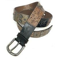 Fossil Womens Size Medium Brown Black Leather Patchwork Studded Boho Waist Belt Photo