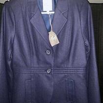 Fossil Womens Size Medium Navy Blue Wool Blend 2 Button Blazer Jacket Photo