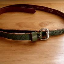 Fossil Womens Skinny Belt Size Large Green Genuine Leather Photo