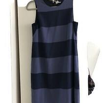 Fossil Womens Sz 4 Bridgette Dress Dark Navy Blue Striped Sleeveless Dress Photo