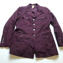 Fossil Womens Sz L Dark Red Wool Pea Coat  Photo