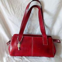Fossil Womens Tote Satchel Handbag Deep Red Leather Excellent Condition Photo