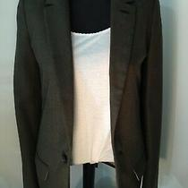 Fossil Womens Wool Jacket Blazer Military Cadet Olive Army Green Fully Lined  6 Photo