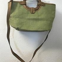 Fossil Wood Ring Handles Woven Green Basket Straw Leather Satchel Cross-Body Bag Photo