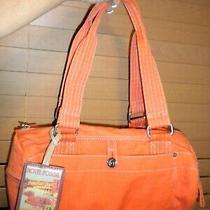 Fossil World Traveler Bag Orange Canvas W/bag Charm Tag Euc Photo