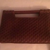 Fossil Woven Hand Bag Brown Genuine Leather Style 75082 Like New Photo