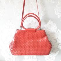 Fossil Woven Leather Crossbody Bag - Red Satchel Purse Circle Ring Handles  Photo