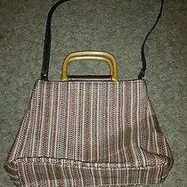 Fossil Woven Multi-Color Medcrossbody Handbag Wood Handles Photo