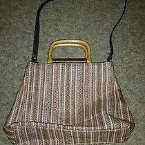 Fossil Woven Multi-Color Medcrossbody Handbag Wood Handles Photo