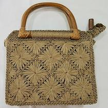 Fossil Woven Natural Straw Hand Bag W/ Wood Handles  Rare  Hard to Find Photo