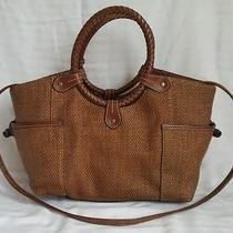Fossil Woven Whiskey Faux Leather Satchel Crossbody Handbag Oasis Ring 2198 Photo