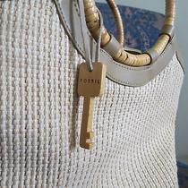 Fossil Woven Wooden Key Bracelet Tote Purse Photo