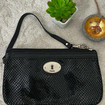 Fossil Wristlet Embossed Black Leather Silver Faux Snakeskin Wallet Clutch Rare Photo