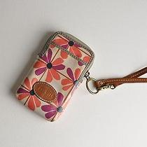 Fossil Wristlet Floral Coated Canvas Zipper Card Case Wallet Cell Phone Case Photo