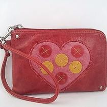 Fossil Wristlet Leather. Coin Purse Wallet Heart Button Design. Clutch Photo