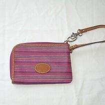 Fossil Wristlet Leather Hot Pink/magenta Stripe W/coral Interior  Nw/ot Photo