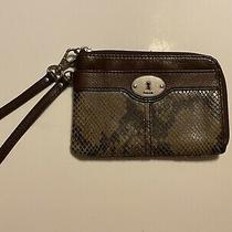 Fossil Wristlet Snake Brown Zipper Strap Photo
