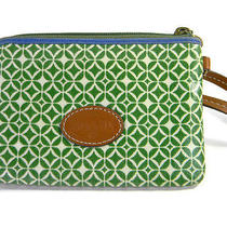 Fossil Wristlet Wallet Water Resistant Green Geometric Photo