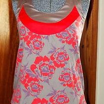 Fossil  Xs Sleeveless Dressy Tank Taupe/red Satiny Glamour Top Blouse  Photo