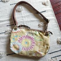 Fossil Yellow Cloth Floral Design Purse Satchel Crossbody Messenger Bag Photo