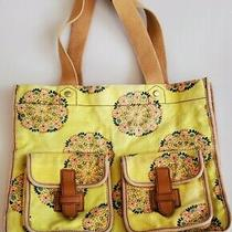 Fossil Yellow Floral Boho Canvas Tote Purse Handbag Flap Pockets W Leather  Photo