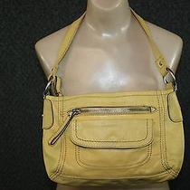 Fossil Yellow Leather Handbag Retro Vibe Boho Medium Sized Bag Hobo Photo