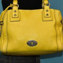 Fossil Yellow Leather 'Marlow' Dome Shopper Turn-Lock Satchel Purse Shoulder Bag Photo