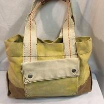 Fossil Yellow Leather Trim Shoulder Purse Photo