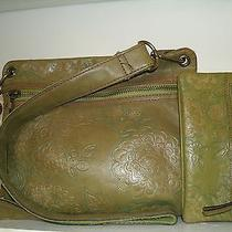 Fossil Zb2989 Olive Green and Green Floral Crossbay With Matching Wallet in Euc Photo