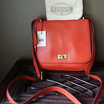 Fossil Zb5407820 Bright Orange Memoir Small Flap Leather Crossbody Bag Nwt 148 Photo