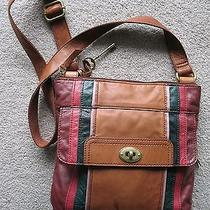 Fossil Zb5549 Leather Messenger/crossbody Bag W/multi-Color Stripes Photo