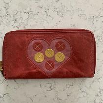Fossil Zip Around Wallet Clutch Red Leather Heart Yellow Circles Photo