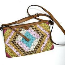 Fossil Zip Top Crossbody Purse Tribal Print Mustard Brown Clutch Bag  Photo