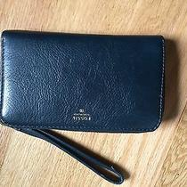 Fossil Zip Wallet Navy Blue Fits Iphone 6 Photo