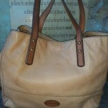 Fossil Zoey Tan Soft Pebbled Leather Large Tote Bag Purse Carryall Shopper Photo