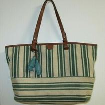 Fossil1954 Natural & Green Striped Canvas &leather Tote Style Purse Shoulder Bag Photo
