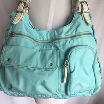 Fossile Medium Tote Organizer Shoulder Handbag Teal Blue Purse Nylon Photo