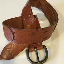 Fossill Womens Waist Belt Tooled Brown Leather Brass Bkl Sunburst Accents Photo