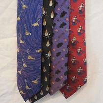 Four Rare Unique Moschino Ties - Quirky Prints Incl. Yellow Submarine Mermaids Photo