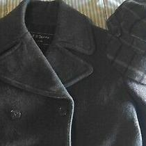 Fr Jenns Wool Dark Gray Lined Double Breasted Pea Coat 95 M 8 - Plaid Gap Hat Photo